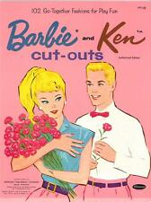 VINTAGE UNCUT 1964 BARBIE & KEN PAPER DOLLS HD~LASER ORG SZ REPRODUCTION~LO PR