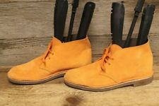 CLARKS ORANGE SUEDE LEATHER LACE UP CHUKKA BOOTS SZ 11 M
