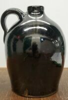 Large Primitive Whiskey Jug -  Antique Glazed Stoneware Crock - 7 inches