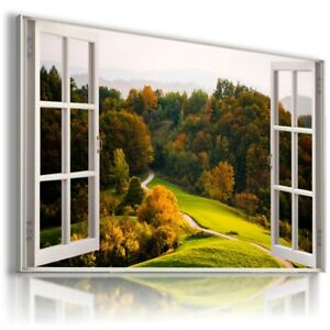 GREEN ROAD FOREST TREES 3D Window View Canvas Wall Art Picture W597 MATAGA