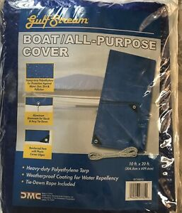 Tarp Gulf Stream/ Boat All-Purpose Cover with Tie-Down Rope Included 10Ft x 20Ft