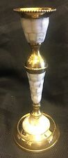 "8 1/4"" Tall Brass and Mother of Pearl Inlay Taper Candlestick New in Box-India"