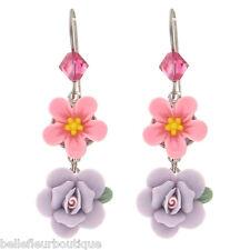 Tarina Tarantino Heritage Flower Earrings Pink & Lavender *Made in California*