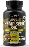 Hemp Seed Oil Capsules - 1200mg Daily - 180 Capsules - Omega 3&6 UK Manufacture
