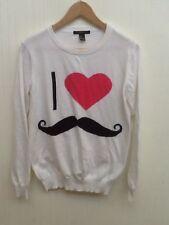 FOREVER 21 I LOVE MUSTACHE Moustache WHITE SWEATER SIZE SMALL S