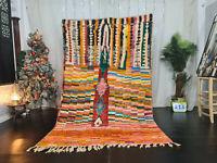 Moroccan Vintage Boujaad Handmade Rug 5'4x8'7 Checkered Colorful Berber Wool Rug