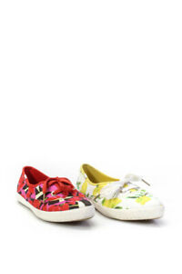 Keds Womens Canvas Low Top Lace Up Floral Sneakers Red Size 7.5M Lot 2