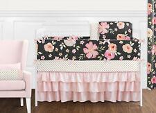 Sweet Jojo Black Pink Shabby Chic Watercolor Floral Baby Girl Crib Bedding Set