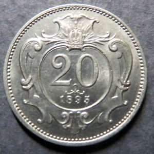 <<1895  Vintage AUSTRIAN, 20  HELLER  COIN, from the AUSTRO-HUNGARIAN EMPIRE