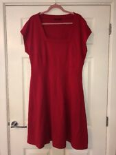 M&S Red Dress Plus Size 20 Smart Work Office Skater Occasion Stretchy Fashion Ca