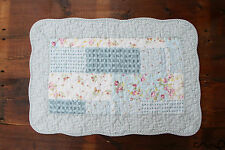 NEW Floral Quilting Style Blue Cotton Bedroom Bath Door Mat Shabby Anti Slip D6