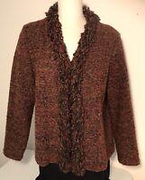 Coldwater Creek womens cardigan sweater rust tweed knit fringe detail size M