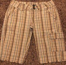 Be Bop  Womens Juniors Brown Plaid Cargo Bermuda Shorts, Casual, Size 3