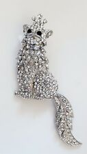 Or Pendant Silver Plate Tone Queen Cat Austrian Crystal Encrusted Pin/Brooch