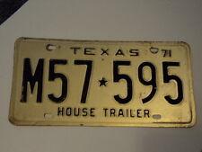1971 TEXAS House Trailer Lone Star License Plate M57 595 TX