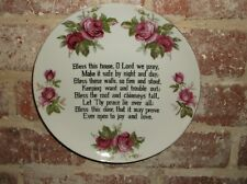 "VINTAGE HOUSE BLESSING WALL PLATE~~HAND PAINTED ROSES~~8""~~LEFTON CHINA  #6731~"