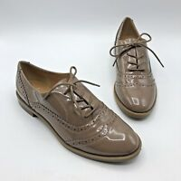 Franco Sarto Women Taupe Shiny Lace Up Wingtip Shoe Size 7.5M Pre Owned