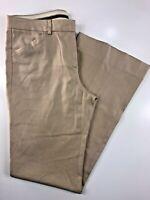 """Theory Tan Boot Leg Women's Flat Front Cotton Blend Pants Size 2 28x30x8"""""""