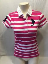 US Polo Assn. Ladies Pink White Striped Embroidered Logo Polo Shirt Size M