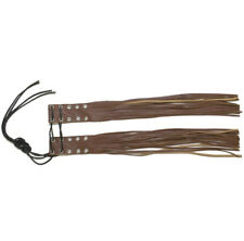 Motorcycle Tassels Lever Covers Brown Leather Handlebar Fringe, Free Shipping