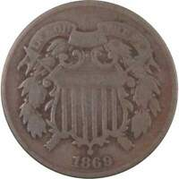 1869 Two Cent Piece Bronze 2c US Type Coin Collectible