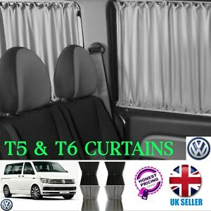 VW T6 T5 T4 Curtain BLACK 2 SIDE WINDOWS Curtains SET SLIDING DOOR AND OPPOSITE