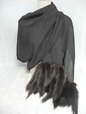 VINTAGE SILK SCARF/SHAWL w/MINK FROM THE BEVERLY HILLS ESTATE OF MARJORIE LORD