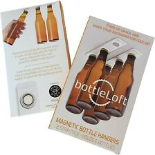 🧲 bottleLoft magnetic bottle loft hangers. Holds 6 beers/sodas on fridge ceilin