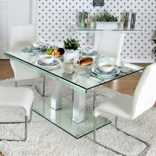 Furniture of America Molina Glass Top Dinner Table in Silver