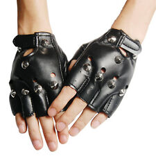 Cool BLACK Punk Rock Studded LEATHER LOOK FINGERLESS GLOVES FANCY DRESS SH