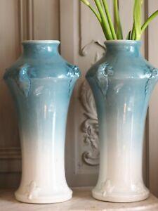 Pair Art Nouveau Luneville Vases in Cream to Blue Porcelain Sevres Paul Milet MP