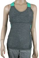Lululemon Push Your Limits Tank Heathered Gray Green Built in Bra Sz 6