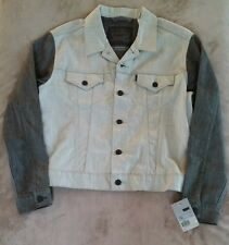 Levis Trucker Jean Jacket NEW Mens Line 8 Small NWT Two Toned Gray Denim