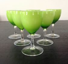6 VINTAGE 1970'S EMPOLI ITALY GREEN HAND BLOWN CASED GLASS WINE GLASSES