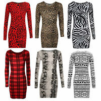 WOMENS PRINTED BODYCON DRESS LADIES TOP PLUS SIZE 8-26 SRETCH JERSEY TUNIC PARTY