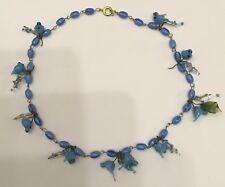 Vintage Blue Blown Glass Birds grapes Necklace Haskellesque