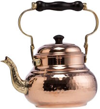 Solid 1mm Thick Hammered Copper Stovetop Teapot Tea Kettle Pot Tin Lined, 1.6Qts