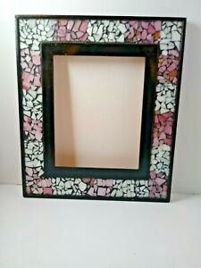 """8""""x10"""" Pink white Mosaic black wood painted frame Tiled Picture Frame"""