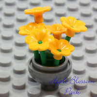 NEW Lego Friends Minifig SILVER FLOWER POT Yellow Pansy Flowers Green Plant Stem