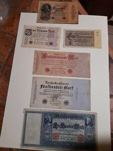 lotto n°6 banconote  Germania Reich dal 1908 al 1937