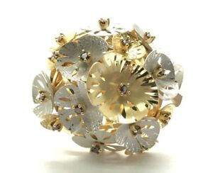 18K Yellow White Gold Elevated 3D Puffy Flower Blooming Statement Cocktail Ring