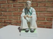 """Zsolnay Hungary Porcelain Large Male Wood Carver or Whittler Figure 12 7/8"""""""