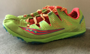 Saucony Carrera XC 3 Womens/kids XC Spikes - Green UK 5.5,Sizing Comes Up Small.