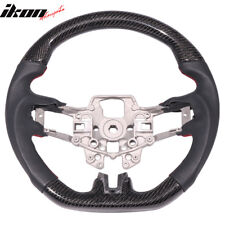 Fits 15-18 Ford Mustang  CF W/ Real Leather Steering Wheel Black