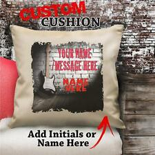 Personalised Guitar Music Vintage Cushion Custom Canvas Cover Gift NC101