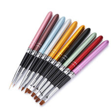 10PCS 3D Nail Art Painting Brush Pen Colorful Metal For UV Gel Polish Set Tool