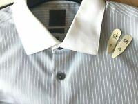 CK Calvin Klein Grey White Striped Formal Shirt Slim Fit Long Sleeve 16.5