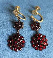 Antique Dark Red German Bohemian GARNET 14Kt Yellow Gold Dangle Screw Earrings