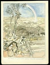 """Watercolor - """"So Nobody Can Quite Explain Exactly Where the Rainbow Ends"""" c1900"""