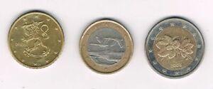 Finlande 2006, lot de 3 pieces coins : 50 cents, 1 euro, 2 euros